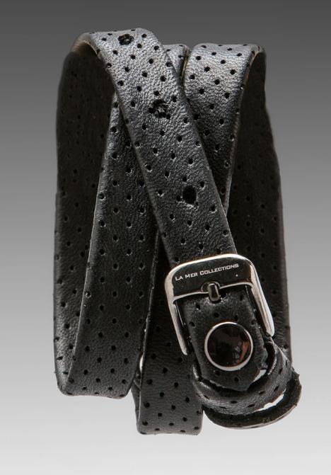 La Mer EXCLUSIVE Perforated Simple Wrap in Black/Gunmetal