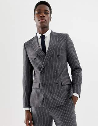 skinny double breasted suit jacket in wool mix stripe