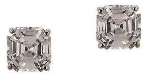 Diamonique 1.50 ct tw Asscher Stud Earrings, 14K Gold