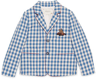 Children's check wool jacket with bee $785 thestylecure.com
