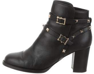 Valentino Rockstud Round-Toe Ankle Boots