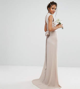 TFNC Tall Tall High Neck Maxi Bridesmaid Dress With Bow Back