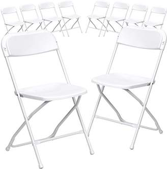 Flash Furniture 10 Pk. HERCULES Series 800 lb. Capacity Premium White Plastic Folding Chair