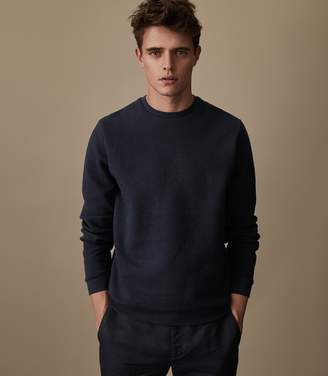 Reiss MARIO TEXTURED CREW NECK JUMPER Navy