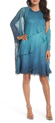Women's Komarov Tiered Chiffon Shift Dress With Shawl $418 thestylecure.com