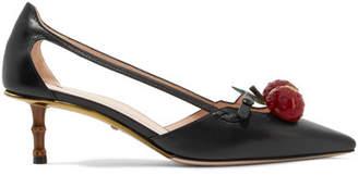 Gucci Unia Embellished Leather Pumps - Black
