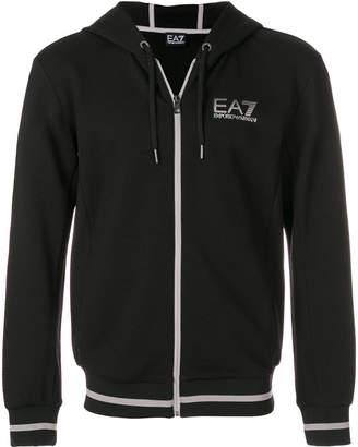 Emporio Armani contrast-trim zip-up hoodie