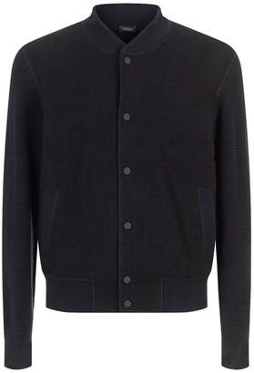 Zegna Textured Logo Wool Bomber Jacket