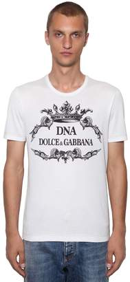 Dolce & Gabbana Dna Logo Printed Cotton Jersey T-Shirt
