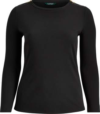 Ralph Lauren Zipper-Trim Cotton-Blend Top