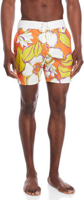 Trina Turk Orange Malibu Printed Board Shorts
