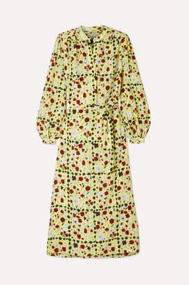 Equipment Francois Floral-print Washed-silk Midi Dress - Pastel yellow