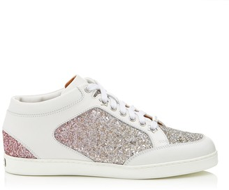 Jimmy Choo MIAMI Platinum and Flamingo Ice Glitter Degrade Fabric and Leather Sneakers