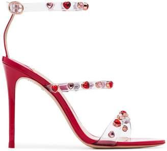 Sophia Webster lollipop red Rosalind 100 gemstone vinyl strap leather sandals