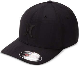 Hurley Men Black Plaid Embroidered-Logo FlexFit Hat