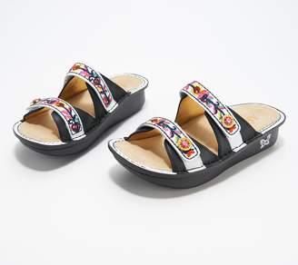 Alegria Leather Adjustable Embroidered Strap Slides - Clara