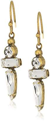 Sorrelli Lisa Oswald Collection Raindrop Crystal Wire Drop Earrings