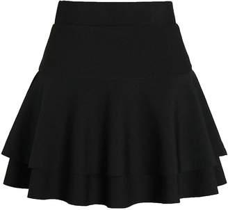 c72db03d1e Spirio Women's Skater Dance High Waist Stretchy Flared Plus Size Mini Skirts  L