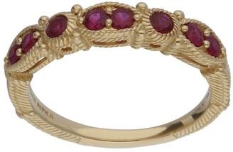 Judith Ripka 14K Gold Ruby Band Ring
