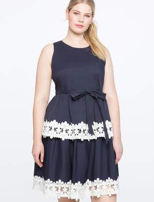 ELOQUII Lace Trim Fit and Flare Dress