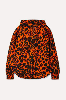 R 13 Oversized Leopard-print Cotton-jersey Hoodie - Orange