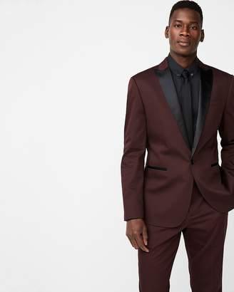 Express Slim Burgundy Satin Peak Lapel Cotton Sateen Tuxedo Jacket