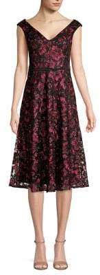 Taylor V-Neck Embroidered Lace Mesh Dress