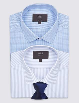 M&S Collection 2 Pack Regular Fit Shirts with Tie