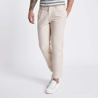 River Island Mens Beige tapered chino trousers