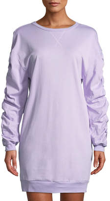Few Moda Ruched-Sleeve Open-Back Sweatshirt Dress