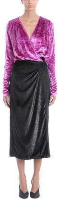 ATTICO V Neck Pink Black Velvet Wrap Dress