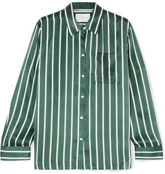 ASCENO - Striped Silk-satin Pajama Shirt - Forest green