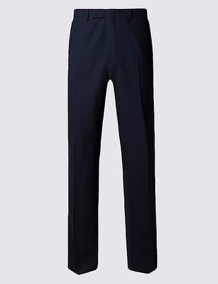 Marks and Spencer Navy Regular Fit Wool Trousers