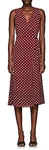 Barneys New York WOMEN'S POLKA DOT HAMMERED CREPE WRAP DRESS