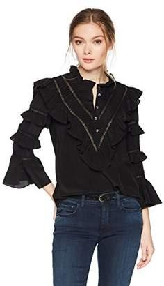 Rebecca Taylor Women's Long Sleeve Silk & Lace Top