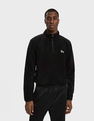 Stussy Polar Fleece Half-Zip Pullover in Black