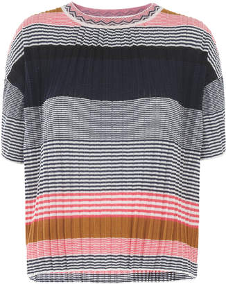 Whistles Pleat Detail Stripe Tee