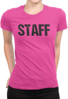 Factory NYC Ladies Neon Safety Staff T-Shirt Front & Back Print Event Shirt Tee (Med...