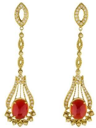 Doris Panos 18K Carnelian & Diamond Drop Earrings