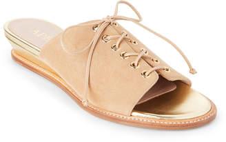 Aperlaï Beige Lace-Up Wedge Slide Sandals