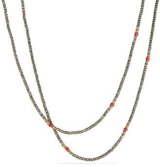 "David Yurman Cable Berries Tweejoux Pyrite & Garnet Necklace, 32"""