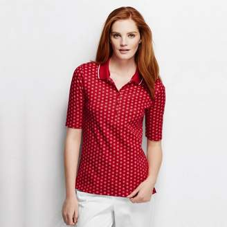 Lands' End - Red Women's Slim Fit Elbow Sleeve Tipped Collar Printed Polo Shirt
