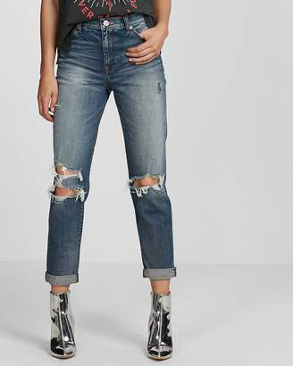 Express High Waisted Ripped Original Girlfriend Jeans