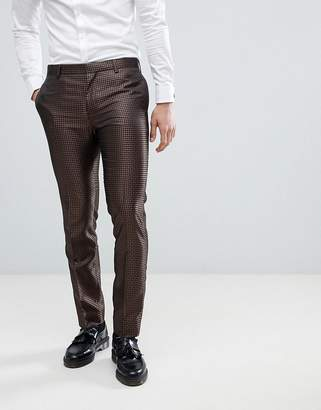 Next Skinny Fit Geometric Suit Pants In Bronze