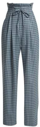 Rodarte Checked Wool Paper Bag Trousers - Womens - Blue Print