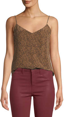 L'Agence Jane Cheetah-Print V-Neck Camisole Top