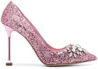 Miu Miu Pink Glitter Swarovski 105 pumps