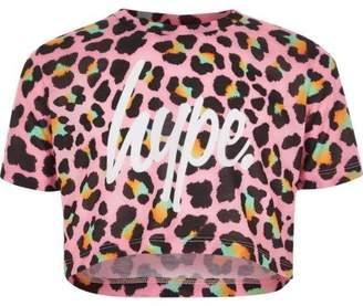 Hype Girls pink leopard print crop T-shirt