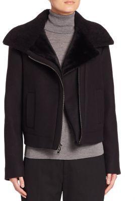 Vince Shearling-Trim Moto Jacket $750 thestylecure.com