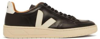 Veja V 12 Bastille Leather Trainers - Mens - Black